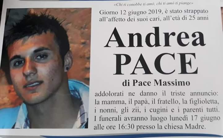 Veglia funebre per Andrea Pace, lunedì i funerali in chiesa Madre ad Avola