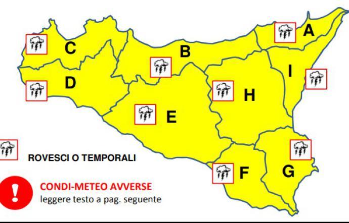 Allerta meteo della Protezione civile in Sicilia orientale
