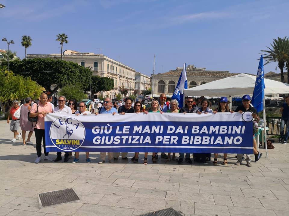 'Verità sui fatti di Bibbiano', manifestazione della Lega per Salvini a Siracusa