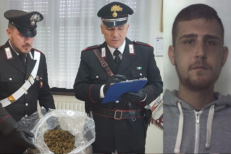 Due chili di marijuana destinata alla piazza di Floridia: 23 enne in carcere