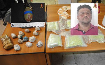 Aveva ecstasy, 1,2 chili di cocaina e una  bomba a mano: arrestato ad Adrano