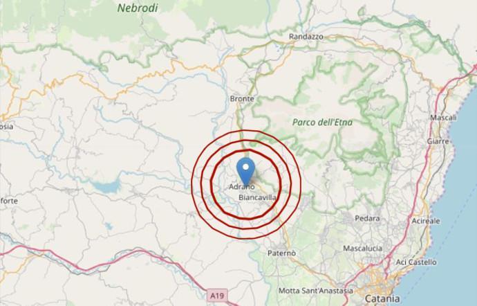 Etna, terremoto di magnitudo 3.9 con epicentro Adrano