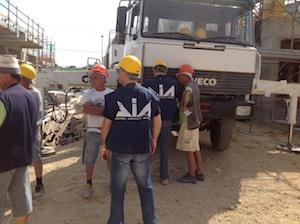 Accesso della Dia in un cantiere edile di Marsala