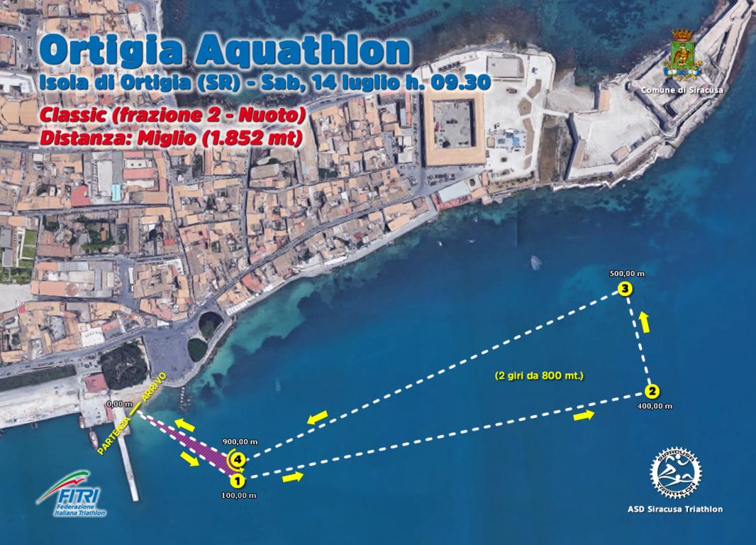 """A Siracusa tutto pronto per l'""""Ortigia Aquathlon"""": al via da sabato prossimo"""