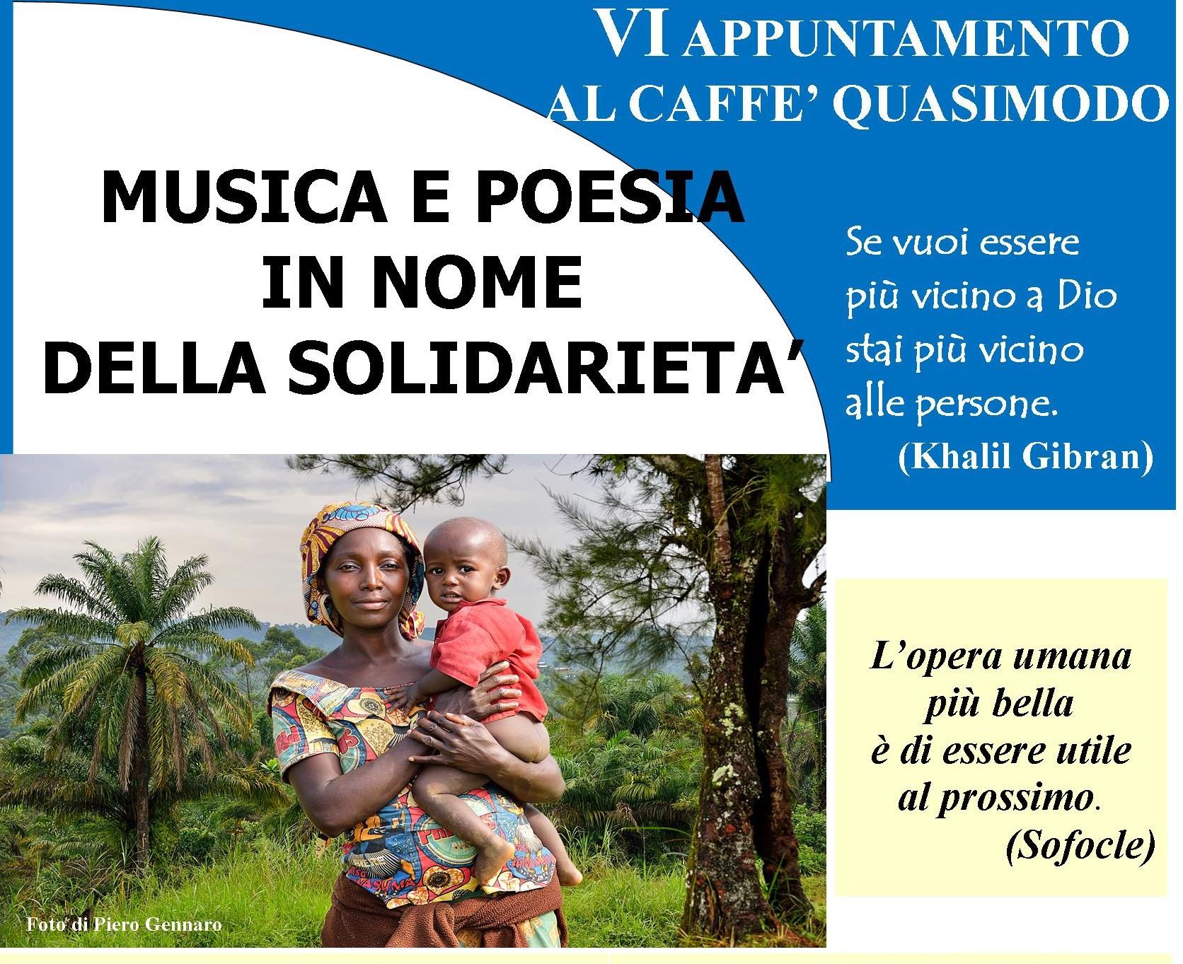 Modica, musica e solidarietà sabato 15  al Caffè Letterario Quasimodo