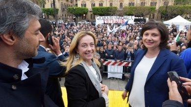 """Girogia Meloni a Palermo: """"Forza Italia ha un problema di identità che deve chiarire"""""""
