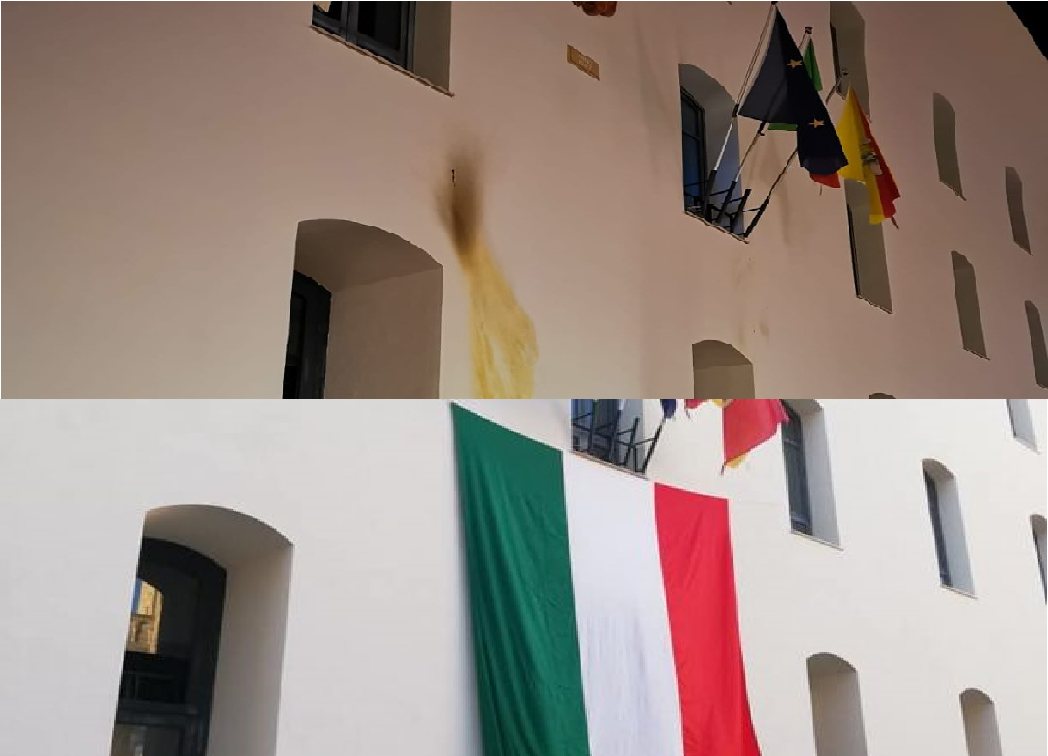 Bruciata bandiera italiana al Municipio di Cefalù