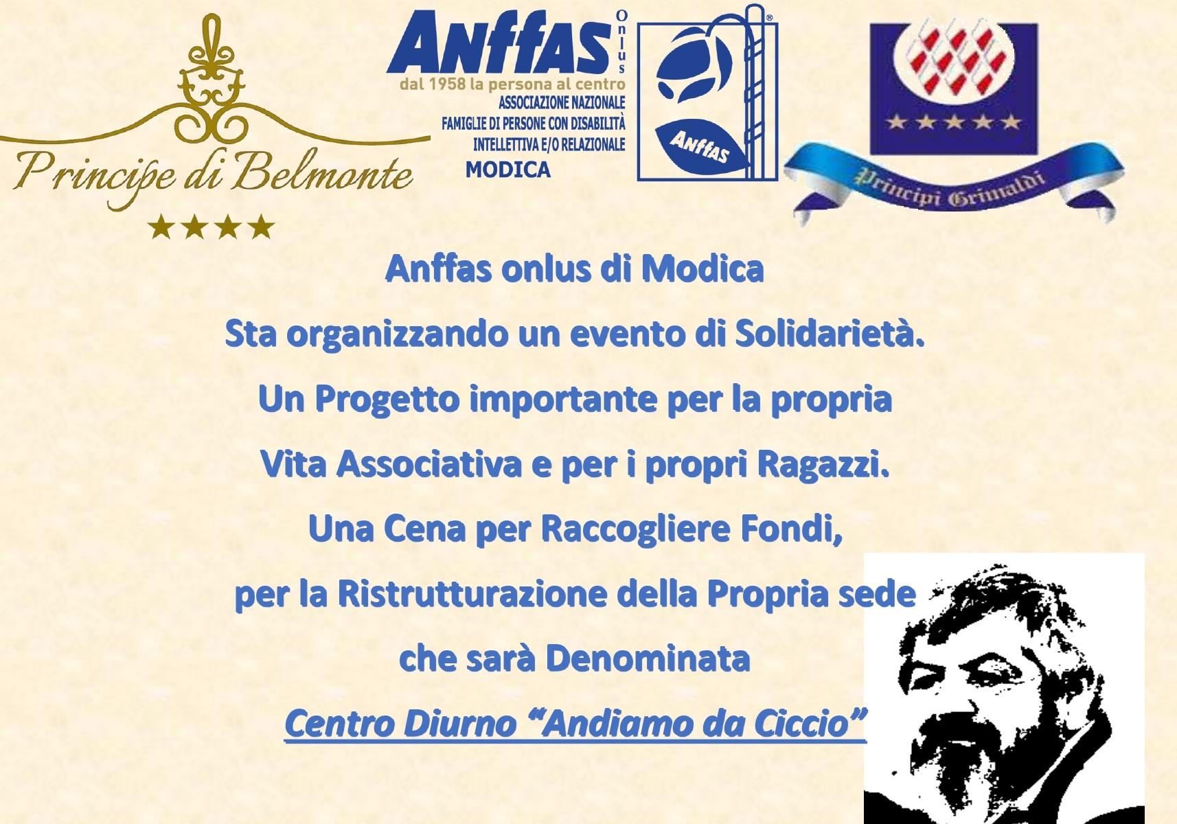 Modica, Anffas: cena solidale per ristrutturare locali di centro diurno