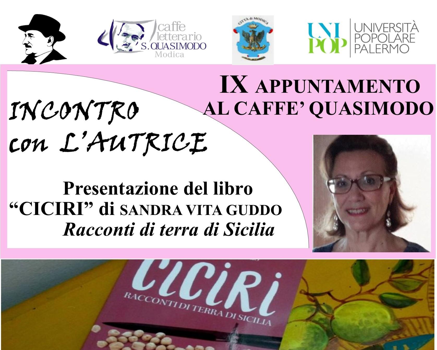 """Modica, sabato letterario: si presenta il libro """"Ciciri"""" di Sandra Vita Guddu"""