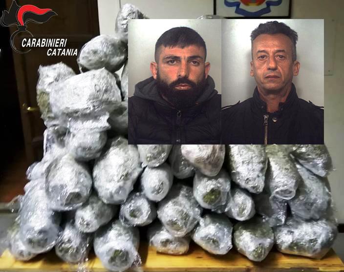 """Catania,  presi  alla 'Fossa dei leoni"""" due corrieri con quasi 60 chili di marijuana"""