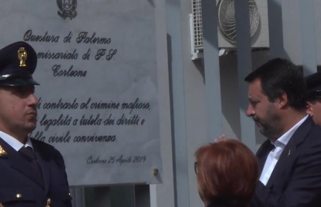 Matteo Salvini a Corleone inaugura il nuovo Commissariato (LE FOTO)