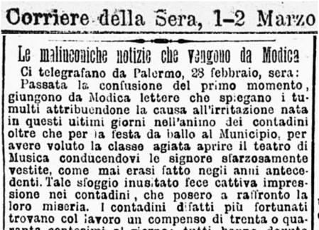 """Modica, febbraio 1898: la rivolta dei contadini nella cronaca del """"Corriere della Sera"""""""