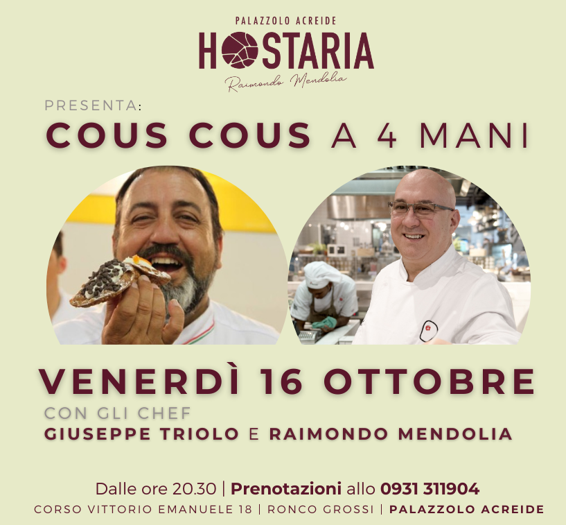 Trapani e Palazzolo Acreide: due chef per una serata di Cous Cous a 4 mani