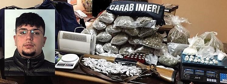 Catania, custodiva armi, munizioni e droga: 23enne finisce in carcere