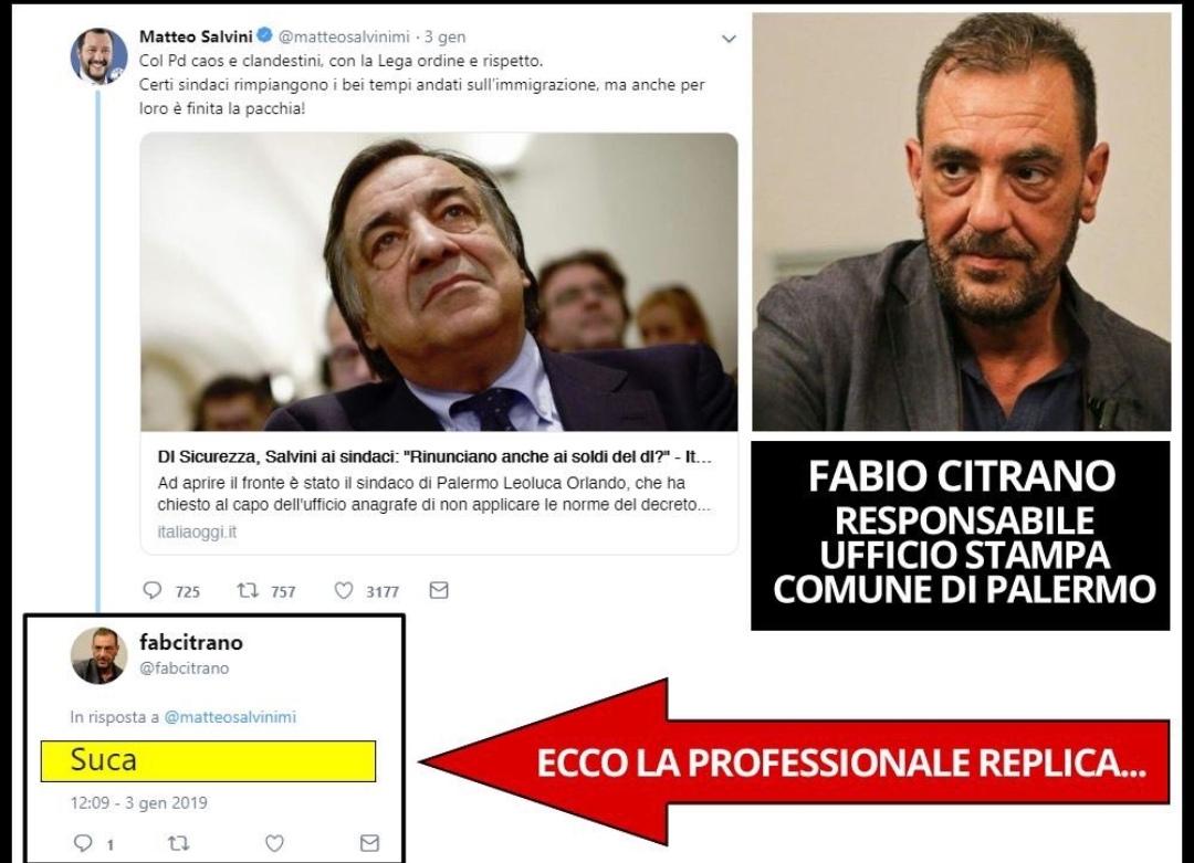 Dipendente del comune di Palermo insulta Salvini, poi le scuse