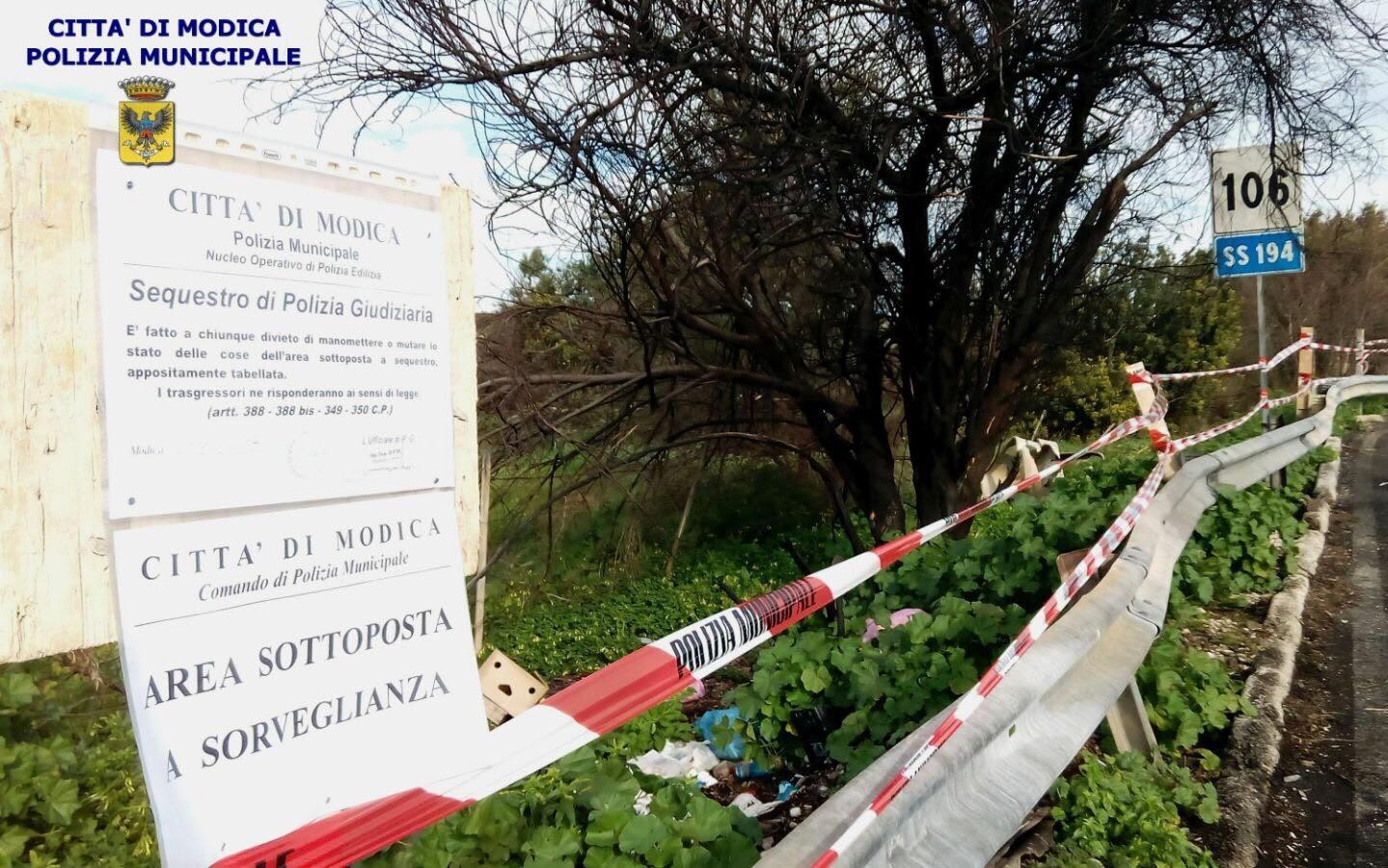 Modica, la Polizia locale sequestra area trasformata in discarica