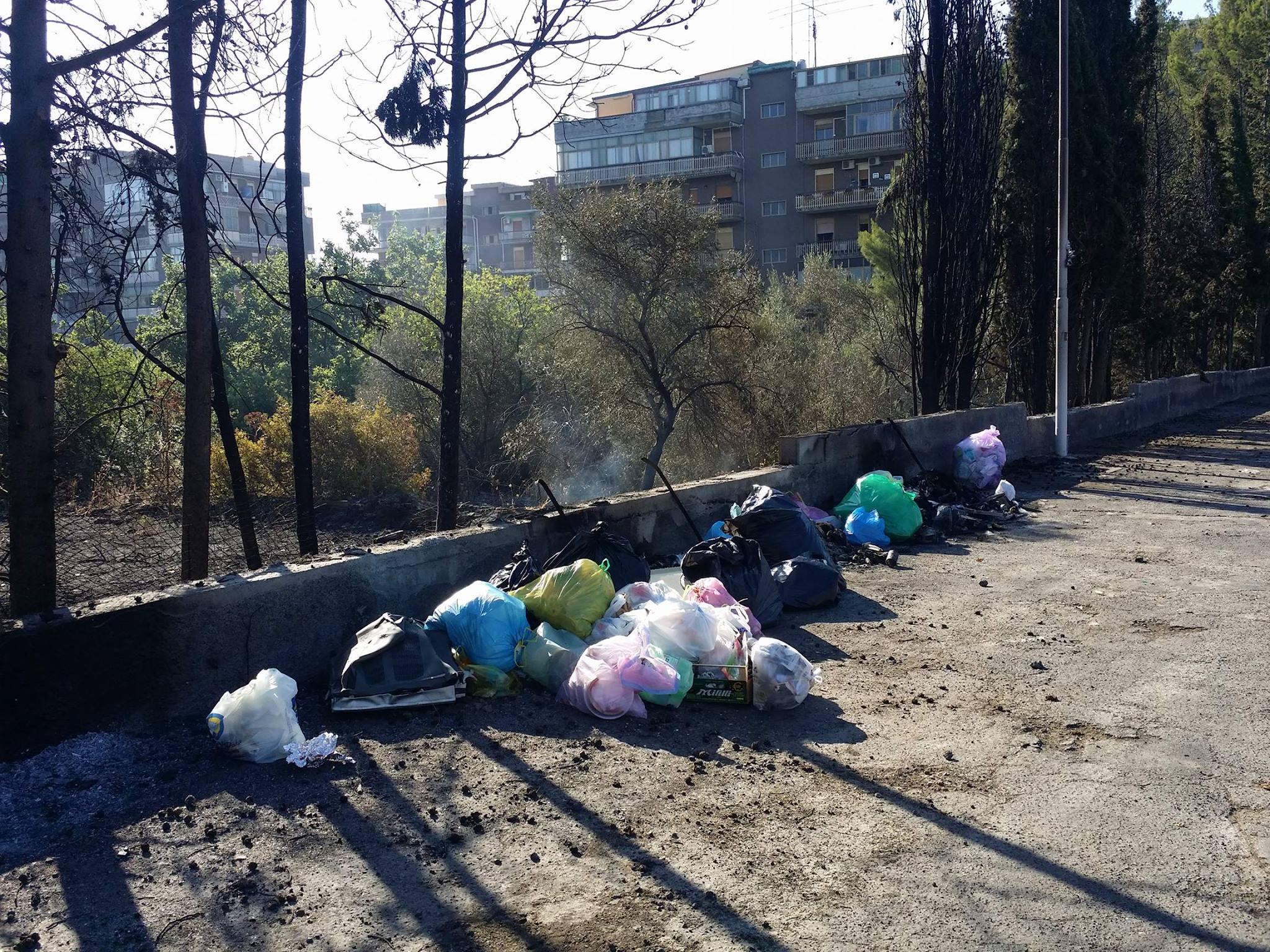 Catania, discarica abusiva e rifiuti bruciati a San Giovanni Galermo