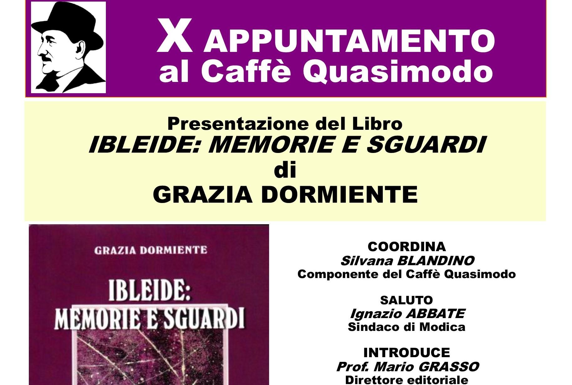 Modica, Caffè Quasimodo: si presenta libro di Grazia Dormiente