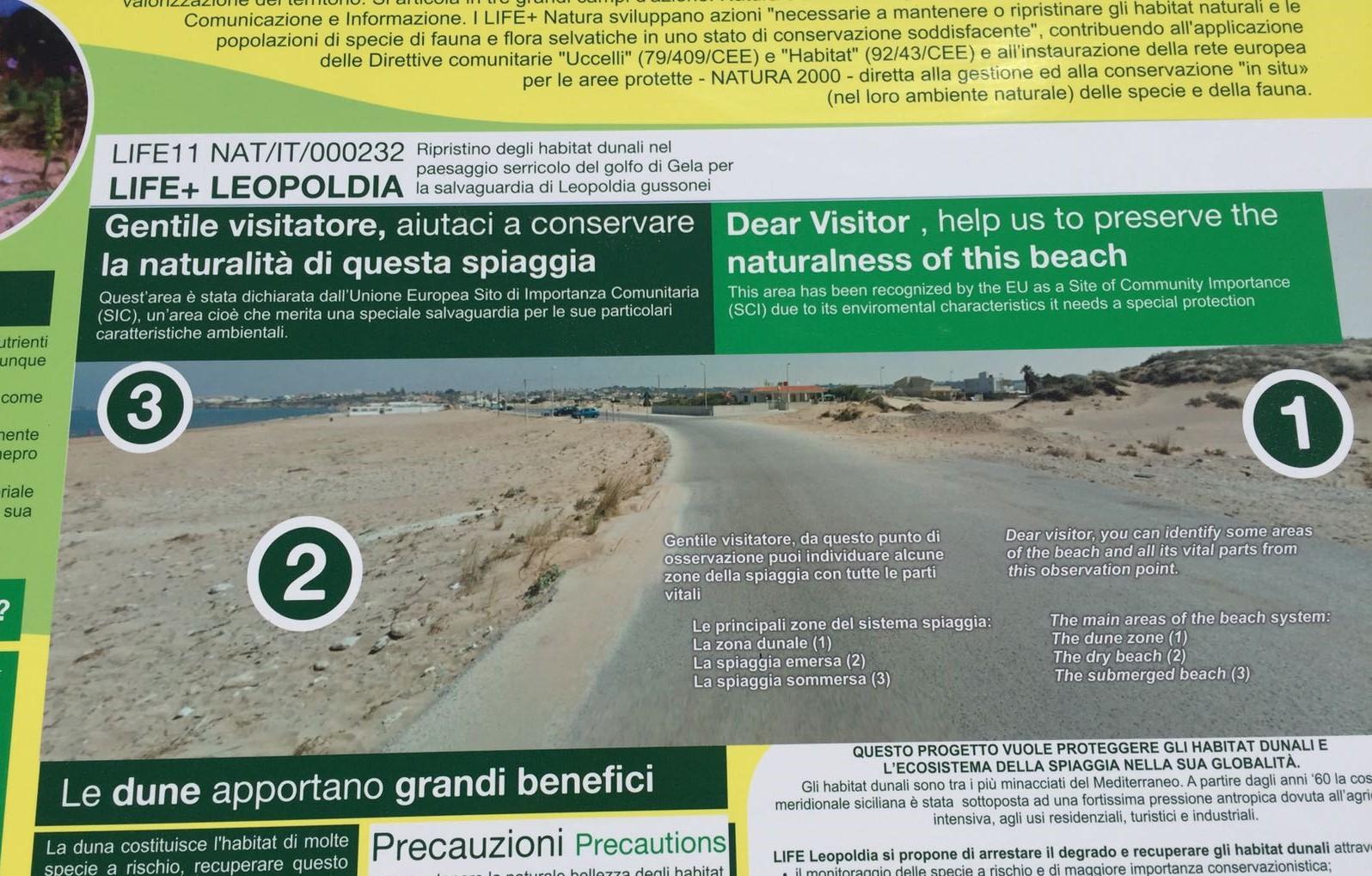 Vittoria, protezione delle dune di Cammarana: installati i pannelli divulgativi