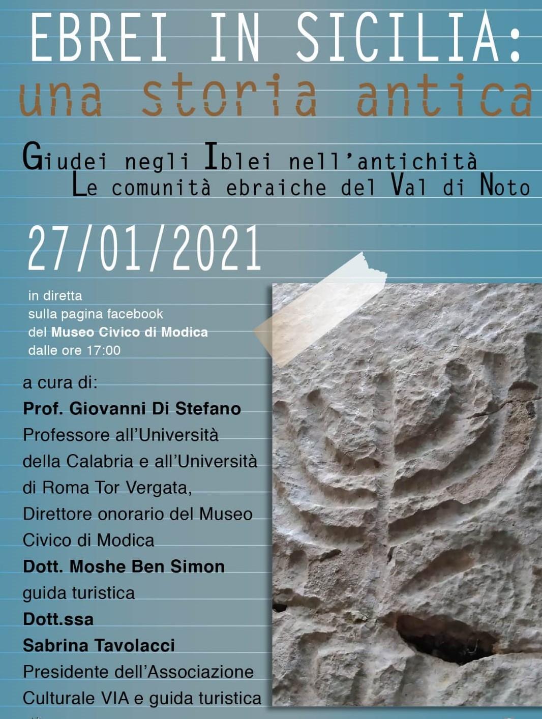 """""""Ebrei in Sicilia: una storia antica"""", nuova conferenza on line dal Museo Civico"""