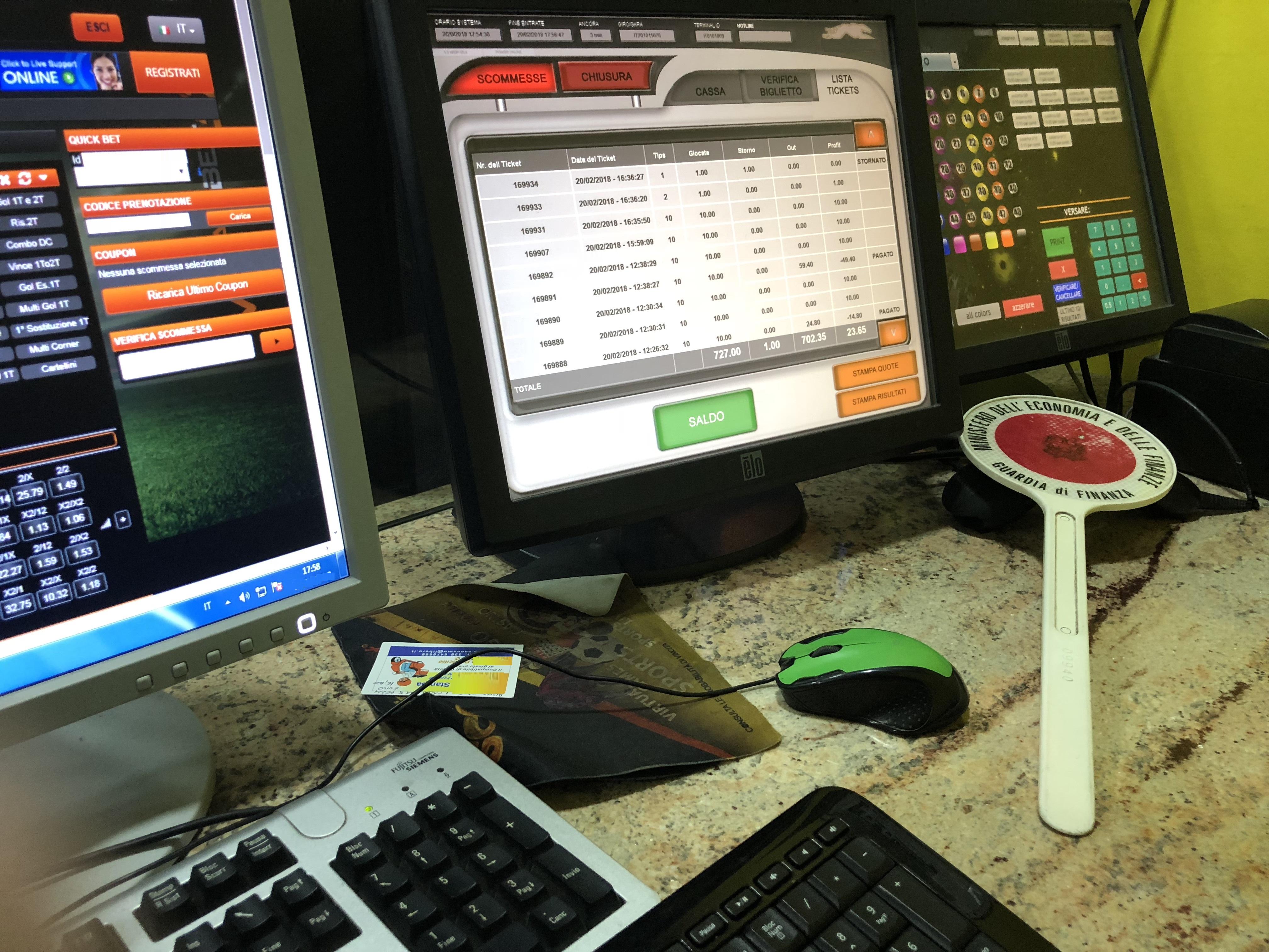 Gioco d'azzardo: sala scommesse abusiva sequestrata a Catania