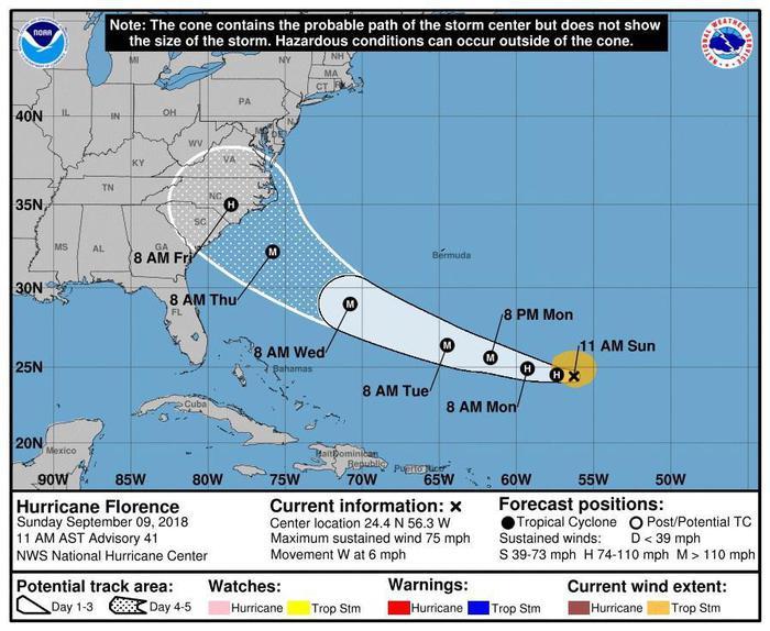 In arrivo uragano Florence, Trump: è molto pericoloso