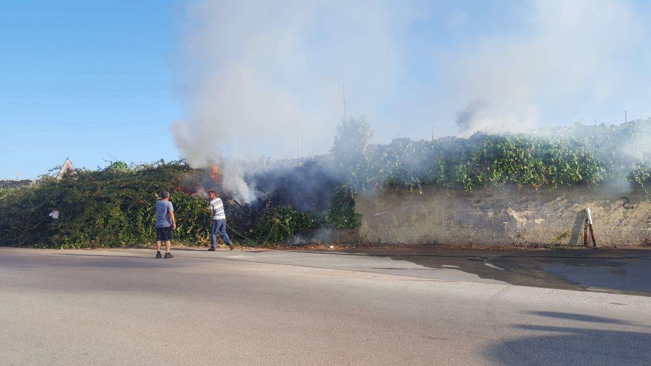 Fuoco a Floridia nella zona del  ponte Mulinello: bruciano sterpaglie e rovi