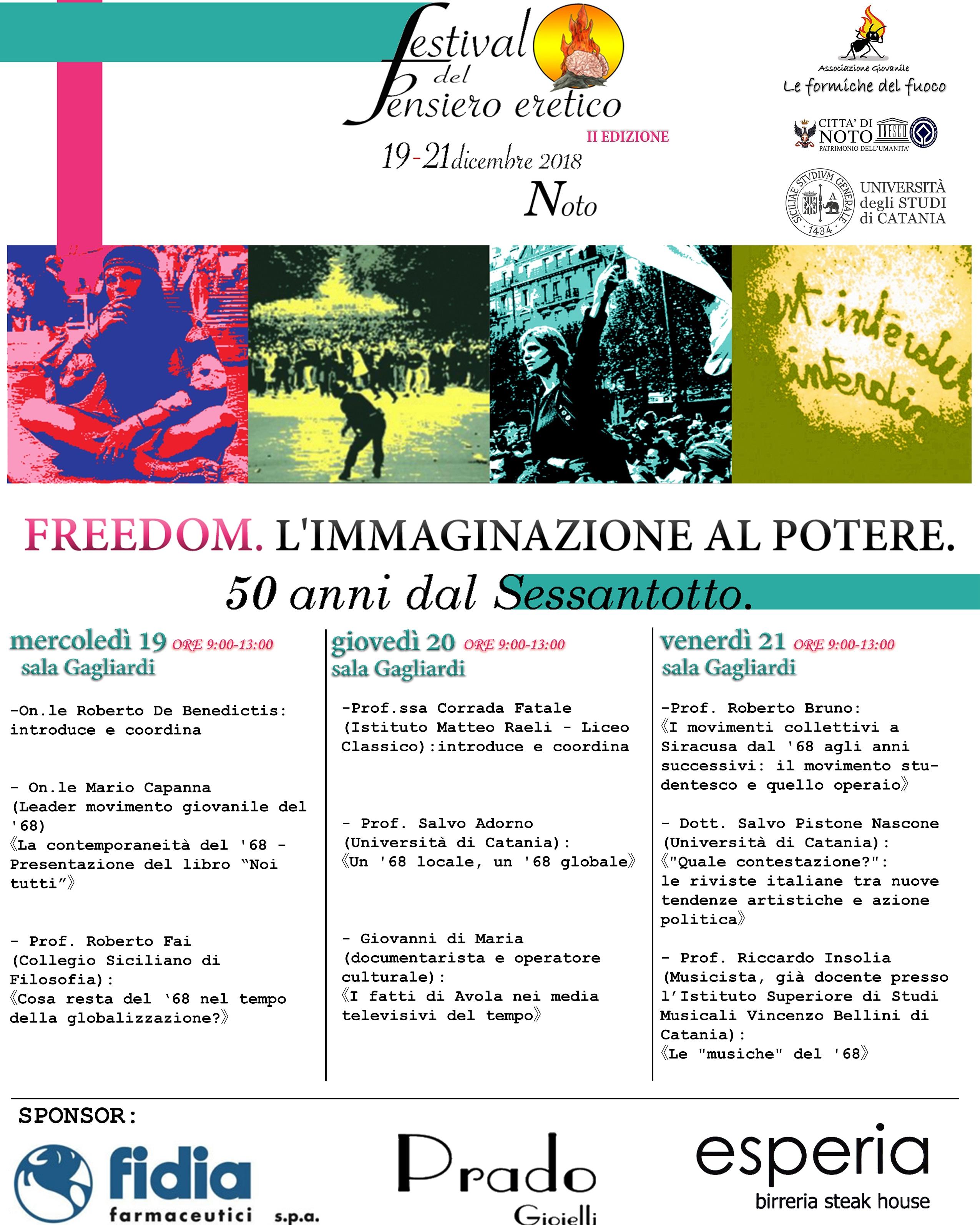 Torna a Noto il Festival del Pensiero Eretico, tema il Sessantotto