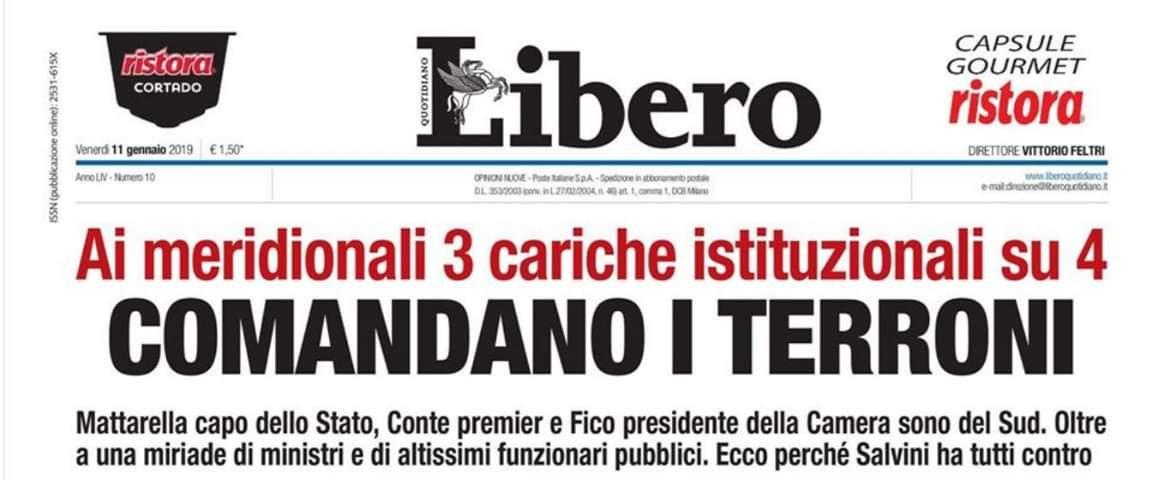 """Libero titola """"Comandano i terroni"""" e Orlando: """"Vergognoso"""""""