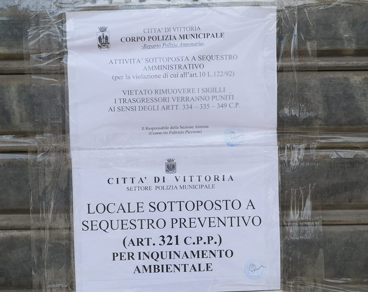 Vittoria, la Polizia Municipale sequestra officina abusiva