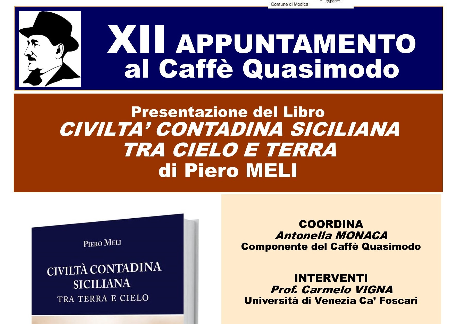 Modica, Caffè Letterario Quasimodo: si presenta libro di Piero Meli
