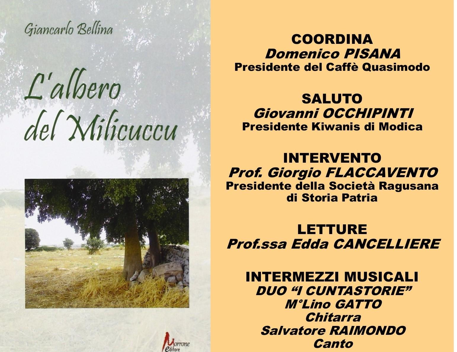 """Modica, Caffè Letterario: si presenta libro """"L'albero del milicuccu"""" di Giancarlo Bellina"""