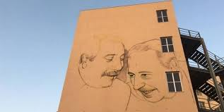 Borsellino sorride con Falcone a Palermo in un maxi murales
