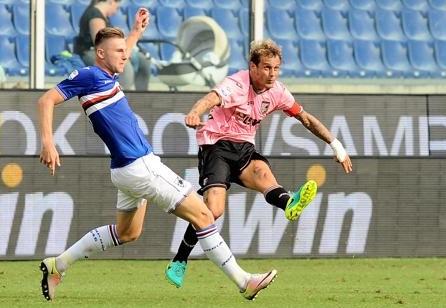 Il Palermo gioca bene a Marassi, ma al 94' la Sampdoria agguanta l' 1 a 1