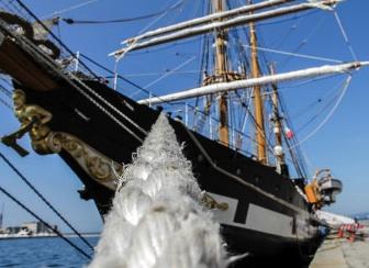 La nave Palinuro della Marina agli ormeggi nel Porto Grande di Siracusa