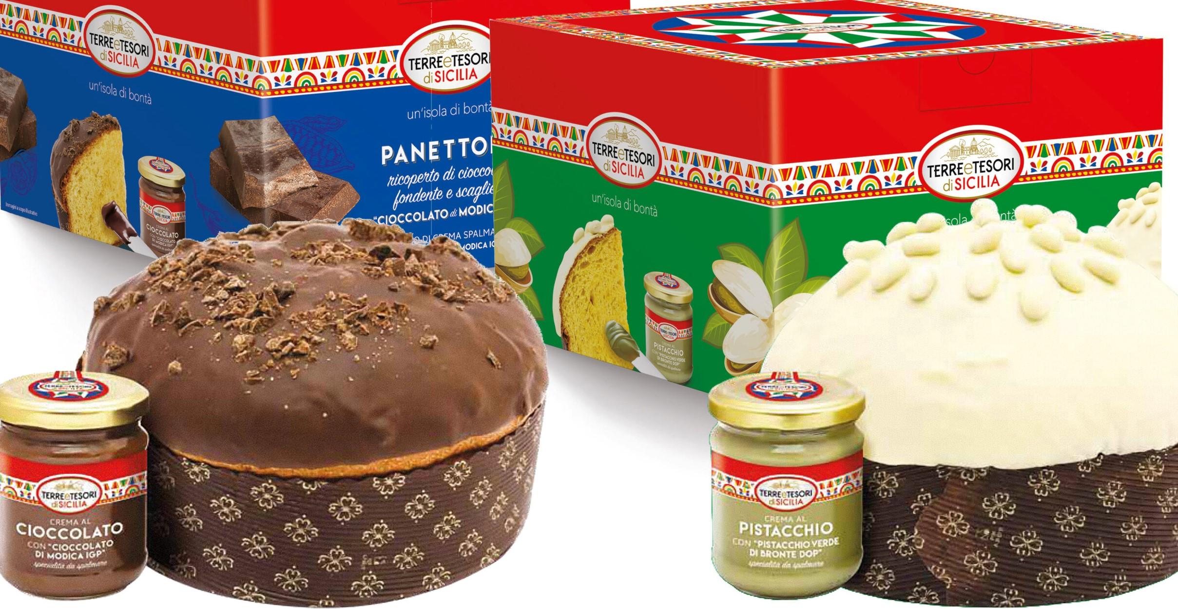 Cioccolato di Modica e pistacchio di Bronte in una linea di panettoni siciliani