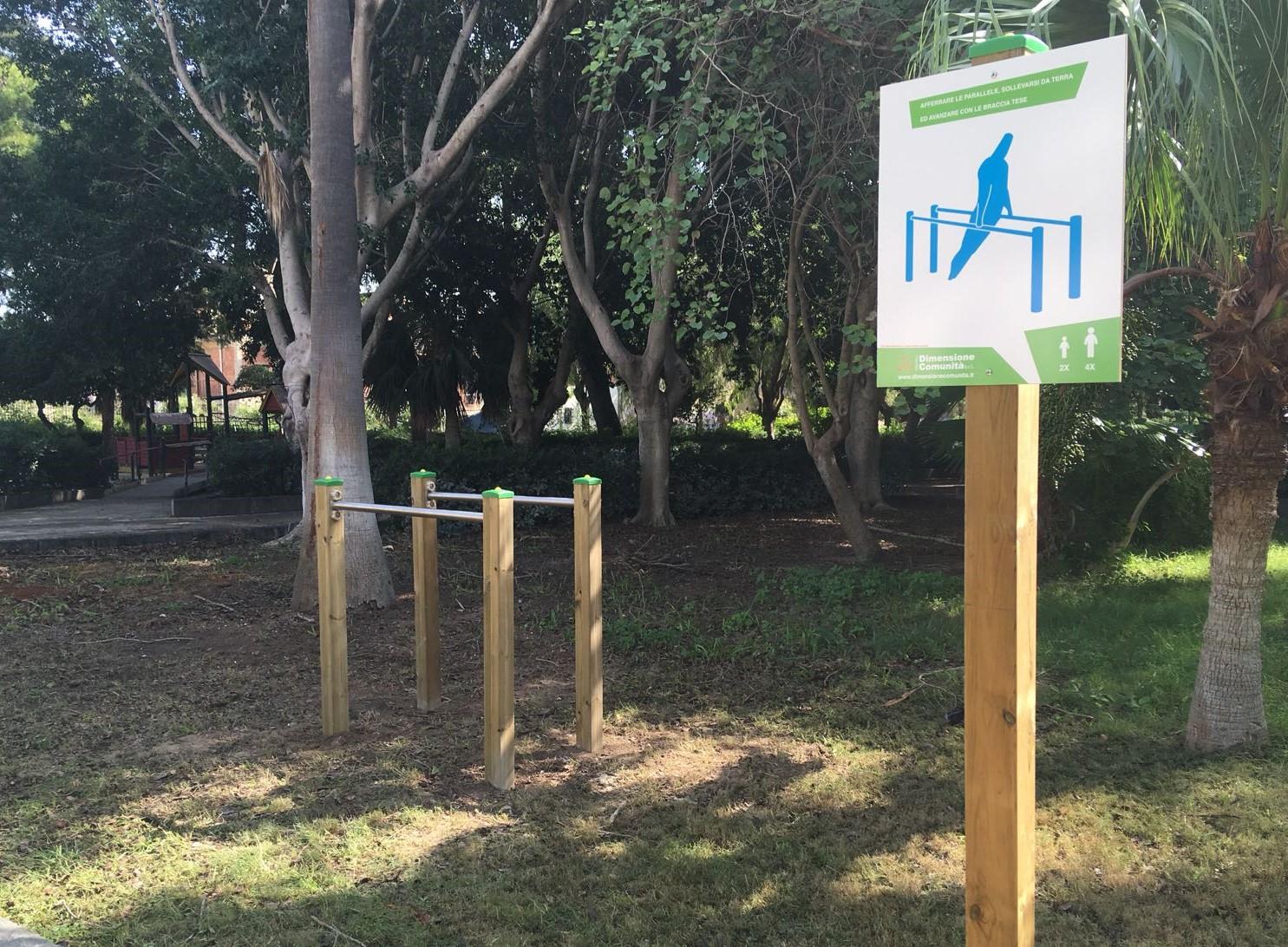 Vittoria, alla villa comunale installato il nuovo percorso ginnico