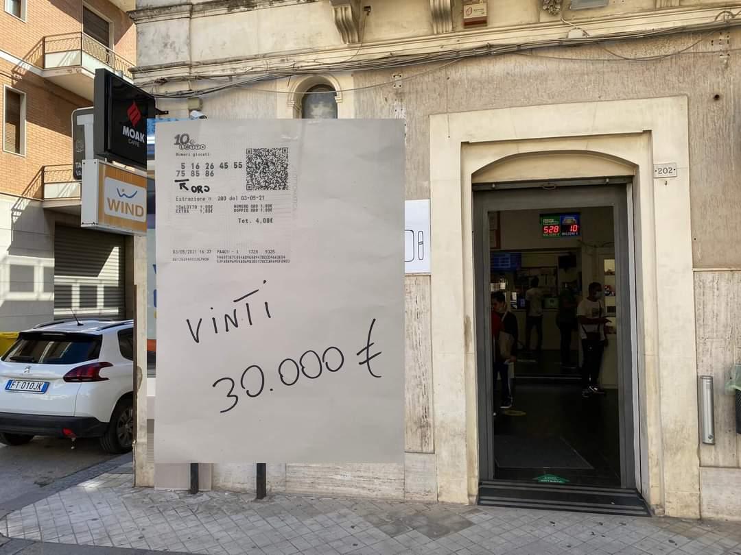 Bracciante di Floridia vince 30 mila euro col 10 e Lotto