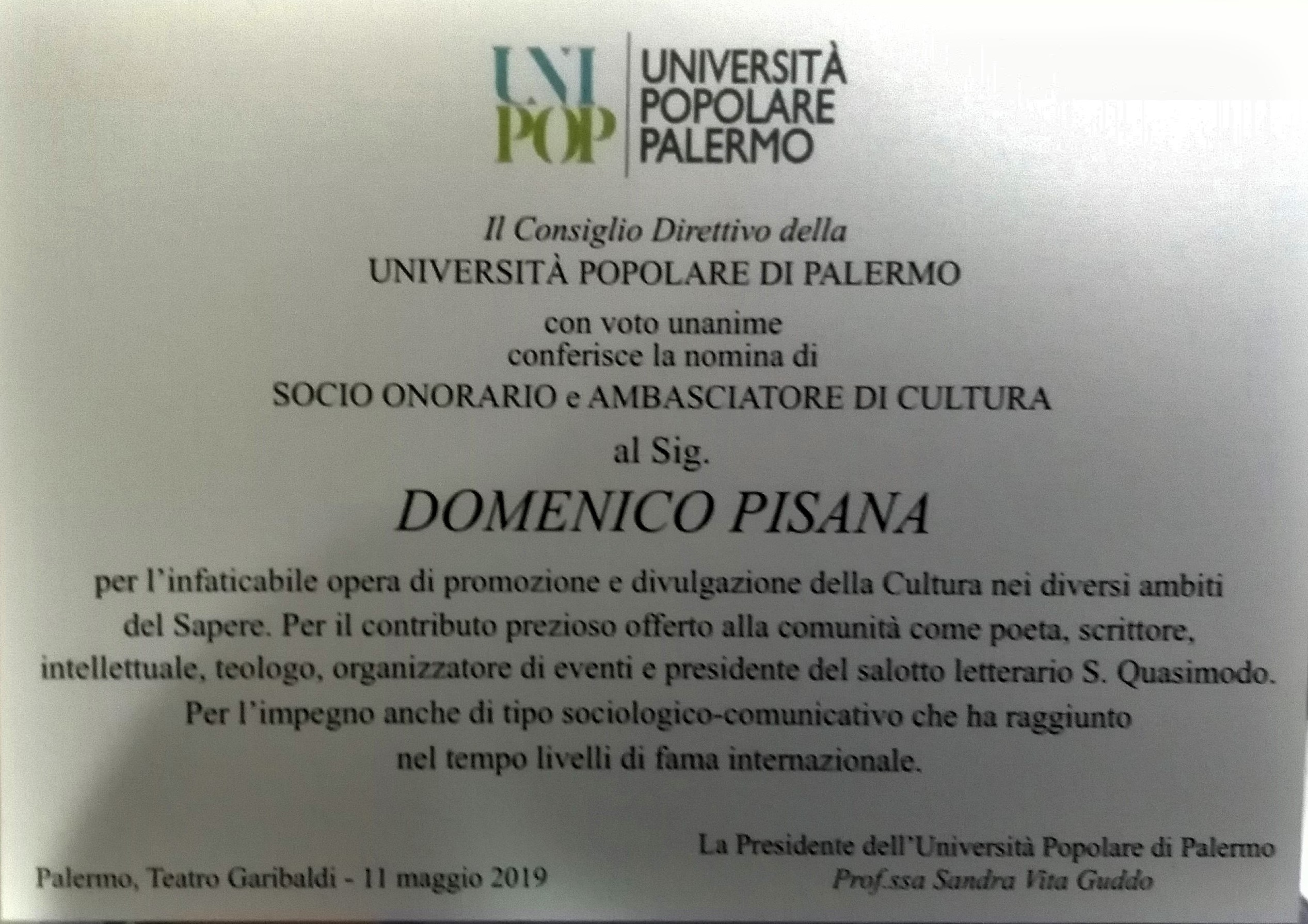 Palermo, riconoscimento culturale al poeta modicano Domenico Pisana