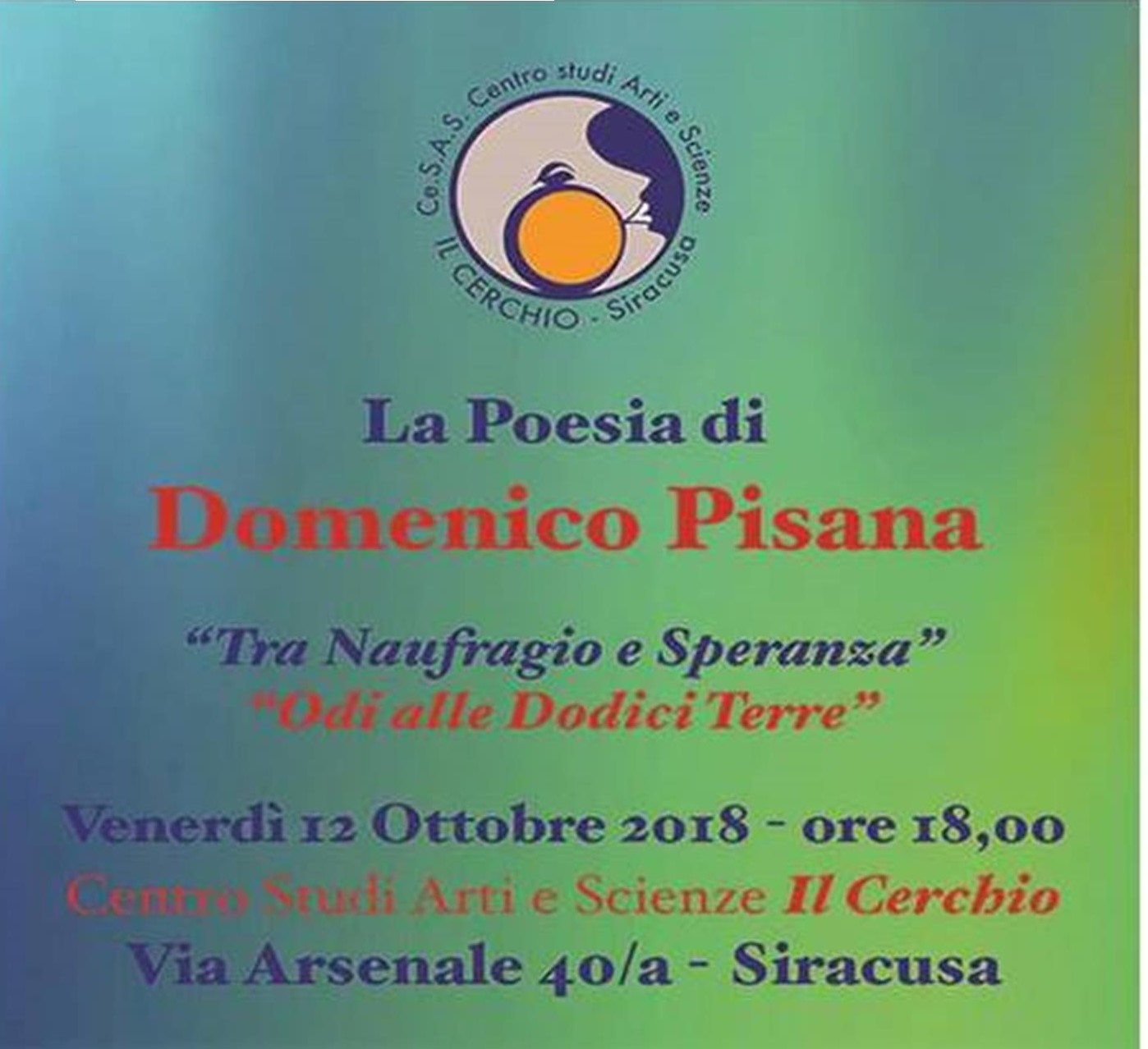 """Siracusa, al """"Cerchio"""" incontro con il poeta modicano Domenico Pisana"""