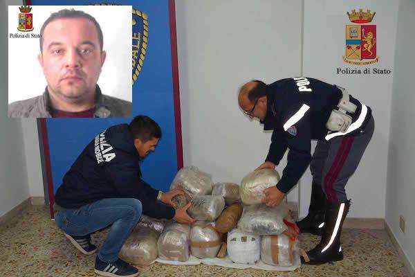 Trovato con 42 chili di droga, arrestato un lentinese