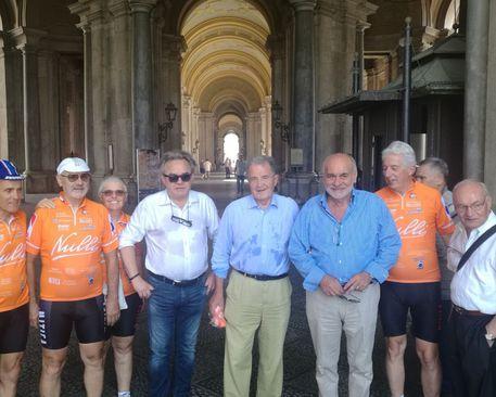 L'ex premier Romano Prodi in visita alla Reggia di Caserta
