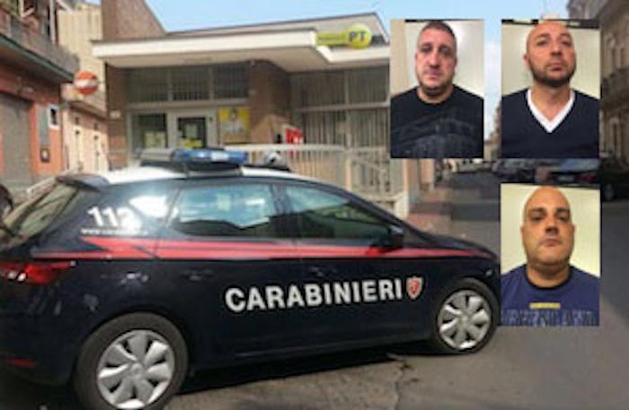 Francofonte, assaltano le Poste: presi dai carabinieri 3 rapinatori