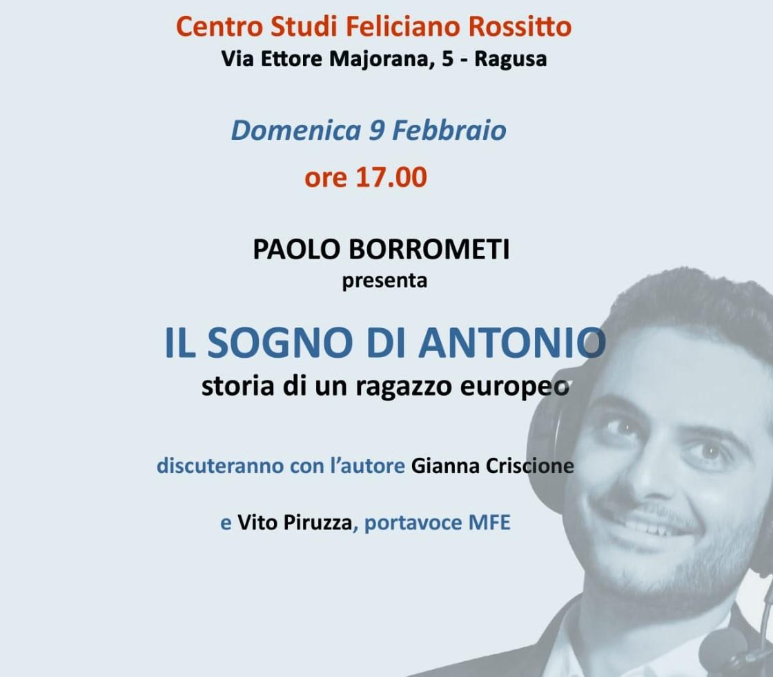 """Ragusa, al Centro Studi Rossitto si presenta il libro """"Il sogno di Antonio"""""""