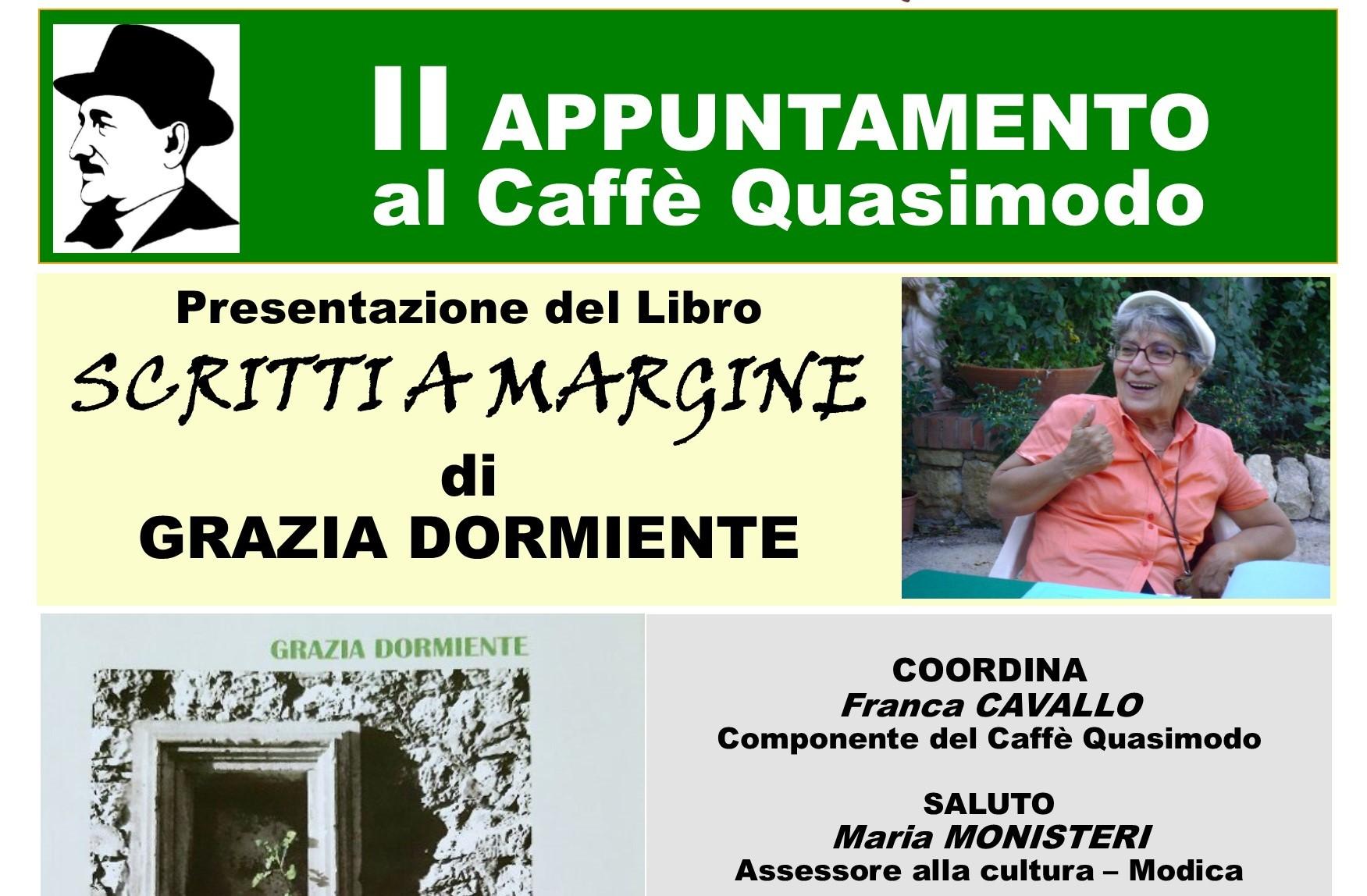 """Modica, al Caffè letterario Quasimodo si presenta il libro """"Scritti a margine"""""""