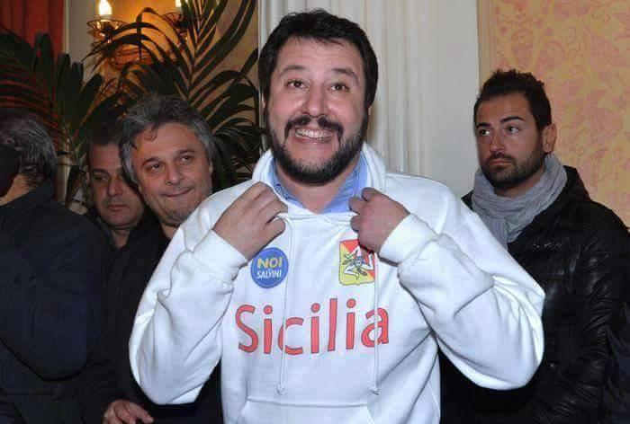 Matteo Salvini a Palagonia alla messa di suffragio dei coniugi Solano