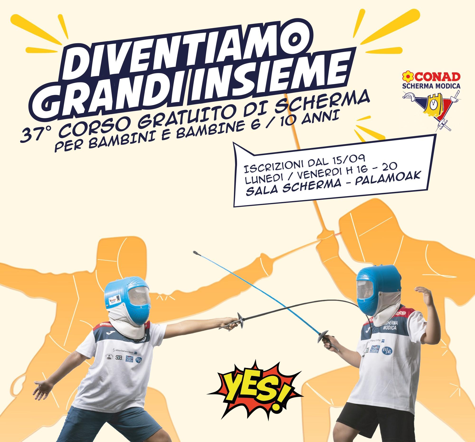 """Scherma Modica, """"Diventiamo Grandi Insieme"""": al via il corso scolastico gratuito"""