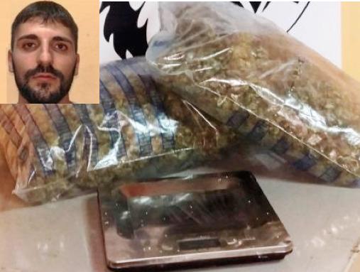 Catania, pregiudicato trovato in possesso di un chilo di marijuana: arrestato