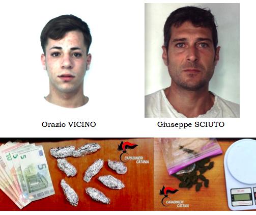 Catania, beccati con droga e soldi: arrestati dai carabinieri