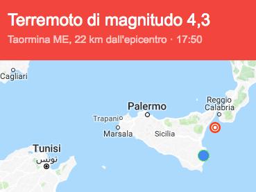 La terra trema a Zafferana Etnea, terremoto di magnitudo 4.3